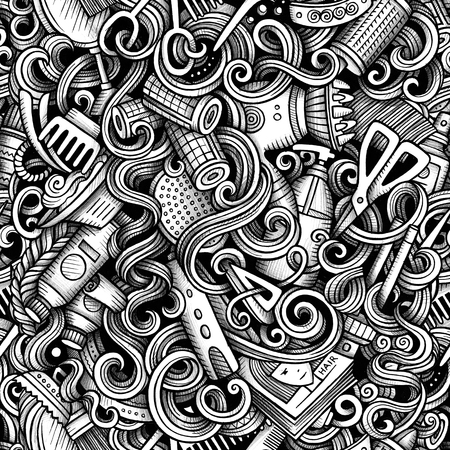 Graphic Hair salon hand drawn artistic doodles seamless pattern. Monochrome, detailed, with lots of objects raster background