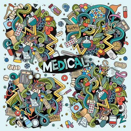Vector cartoon set of Medical doodles designs