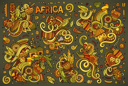 アフリカ オブジェクトとシンボルのカラフルなベクトル手描き落書き漫画セット