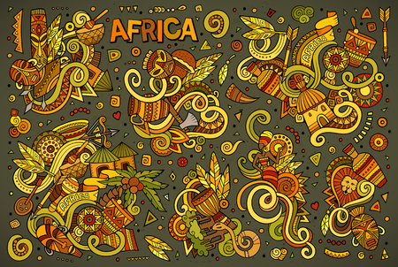Colorful vector hand drawn doodle cartoon set of Africa objects and symbols