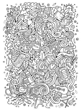 Cartoon handgetekende doodles camping illustratie. Lijn artdetailed, met veel objecten vector ontwerp achtergrond