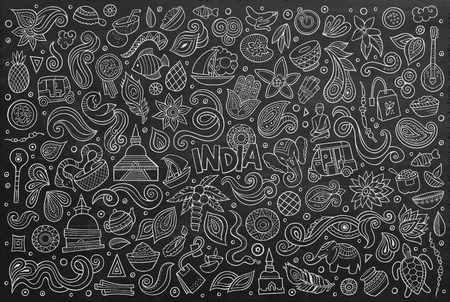 Chalk board vector hand drawn doodle cartoon set of Indian objects and symbols