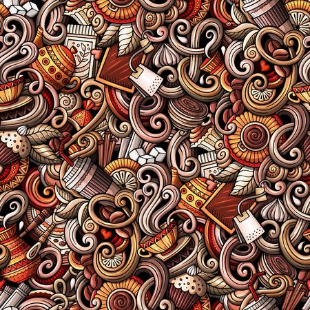 카페, 커피가 게 테마 원활한 패턴의 주제에 만화 손으로 그린 낙서. 상세한, 많은 개체 벡터 배경 일러스트