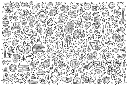 Sketchy vector hand drawn doodle cartoon set of Indian objects and symbols