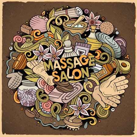 Cartoon cute doodles hand drawn Massage illustration. Colorful detailed, with lots of objects background. Funny vector artwork. Bright colors picture with Spa theme items.