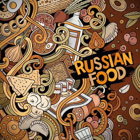 Ontwerp van het het voedselkader van beeldverhaal het leuke krabbels hand getrokken Russische. Kleurrijk gedetailleerd, met veel objecten achtergrond. Grappige vectorillustratie Heldere kleurengrens met de punten van het keukenthema