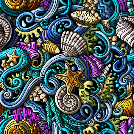 Cartoon hand-drawn doodles on the subject of under water life theme seamless pattern. Colorful detailed, with lots of objects vector background