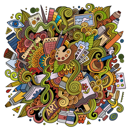 Cartoon cute doodles hand drawn Artistic illustration. Colorful detailed, with lots of objects background. Funny vector artwork Ilustração
