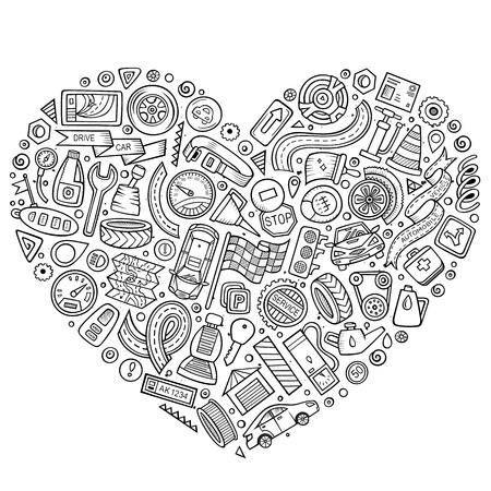 Line art vector hand drawn set of Automobile cartoon doodle objects, symbols and items. Heart composition