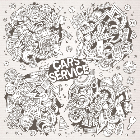 Vector line art hand drawn doodle cartoon set of Automobile objects and symbols