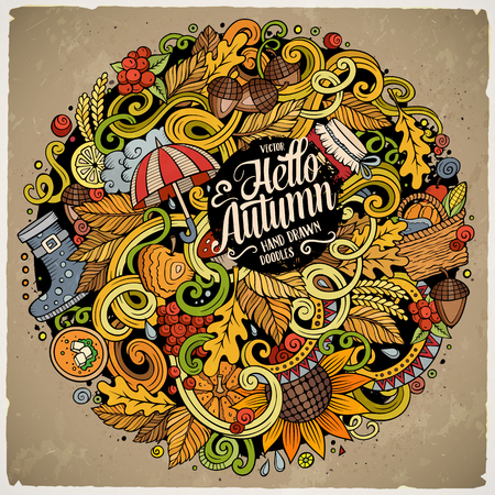 Cartoon cute doodles hand drawn autumn illustration. Colorful detailed, with lots of objects background. Funny vector artwork. Bright colors picture with fall season theme items Ilustração
