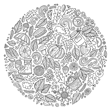 Sketchy vector hand drawn set of Autumn cartoon doodle objects, symbols and items. Round composition