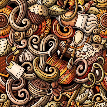 Cartoon hand-drawn doodles on the subject of cafe, coffee shop theme seamless pattern. detailed, with lots of objects vector background