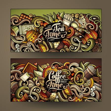 漫画カラフルなベクトル手描き落書きカフェ コーポレート ・ アイデンティティ。2 水平方向のバナー デザイン。テンプレート セット  イラスト・ベクター素材