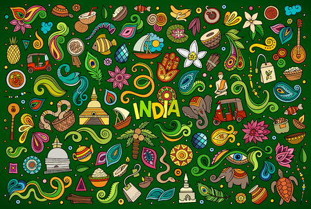 Colorful vector hand drawn doodle cartoon set of Indian objects and symbols