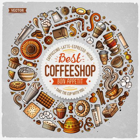 Colorful main vecteur dessiné ensemble de café objets de griffonnage de bande dessinée, des symboles et des objets. composition du cadre rond Banque d'images - 79418434