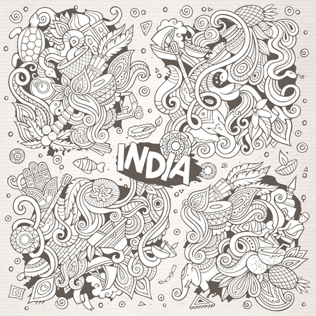 Line art vector hand drawn doodle cartoon set of Indian designs