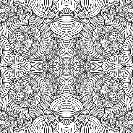 Abstract vector decorative ethnic hand drawn sketchy contour seamless pattern