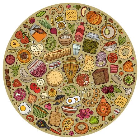 Vector Reihe von russischen Lebensmittel Cartoon Doodle Objekte Standard-Bild - 79418469