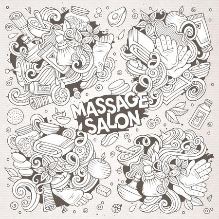 Vector set of Massage and Spa doodle designs Vector Illustration