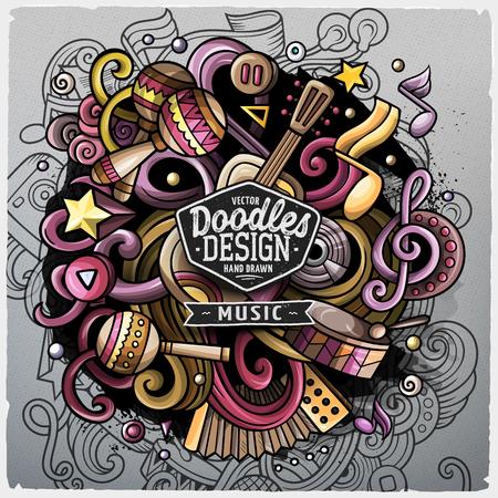 Leuke cartoon doodles hand getrokken illustratie van de muziek. Kleurrijk gedetailleerd, met veel objecten achtergrond. Grappig vector grunge artwork
