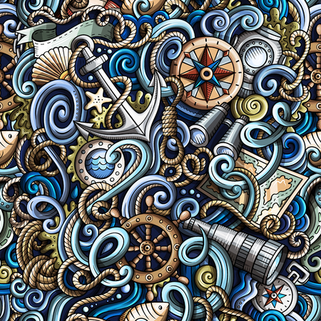 Cartoon hand-drawn nautical doodles seamless pattern. Detailed, with lots of objects vector background Illustration