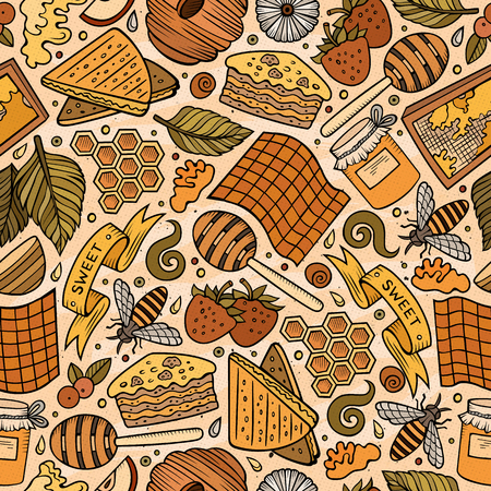 Cartoon cute hand drawn Honey seamless pattern. Colorful detailed, with lots of objects background. Endless funny vector illustration. Bright colors backdrop