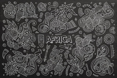 Chalk board vector hand drawn doodle cartoon set of Africa objects and symbols