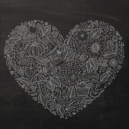 Chalkboard vector hand drawn doodle cartoon set of Autumn objects, symbols and items. Heart composition