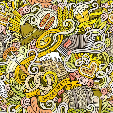 Cartoon cute doodles hand drawn Octoberfest seamless pattern. Colorful detailed, with lots of objects background. Endless funny vector illustration. Bright colors backdrop with beer symbols and items