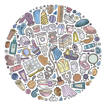 Colorful vector hand drawn set of Bathroom cartoon doodle objects, symbols and items. Round composition Stok Fotoğraf - 79664217