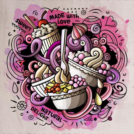 Ice Cream cartoon vector doodle watercolor illustration Ilustração