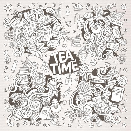Tea time doodles hand drawn sketchy vector doodle designs Иллюстрация