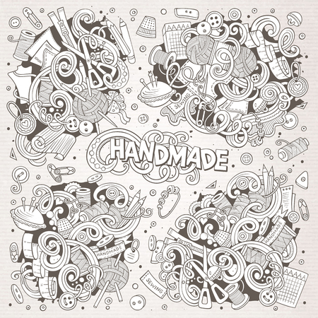 Doodle cartoon set of handmade object