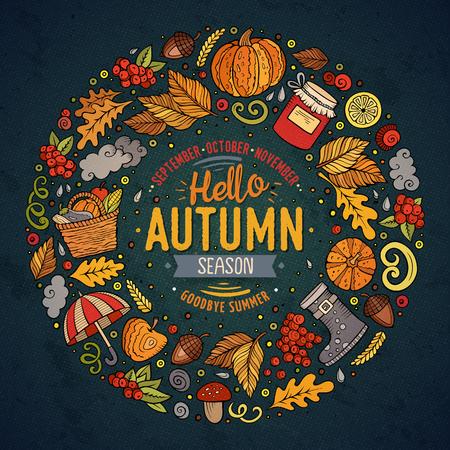 Satz Herbstkarikaturgekritzelgegenstände, -symbole und -einzelteile Standard-Bild - 80092711