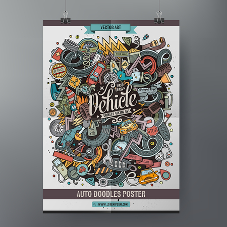 Cartoon doodles Vehicle poster Ilustracja