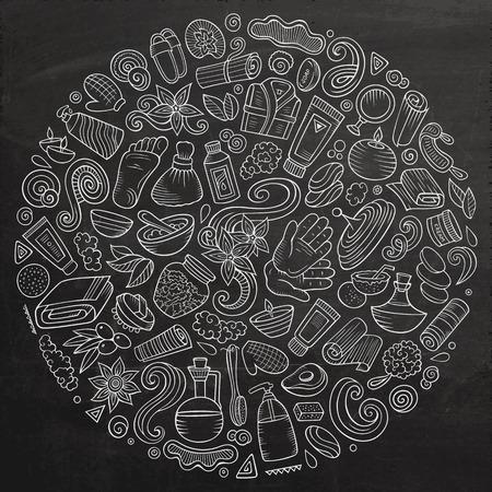 Vectorreeks voorwerpen van de de salonkrabbel van de Massage Stock Illustratie