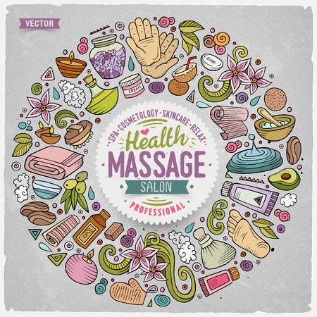 Vector set van massage cartoon doodle objecten Stock Illustratie