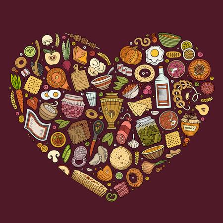 Vector set van Russische voedsel cartoon doodle objecten Stock Illustratie