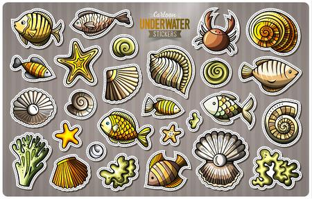 Set of underwater life cartoon stickers