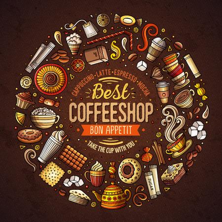 コーヒー漫画落書きオブジェクト、シンボルとアイテムのセット