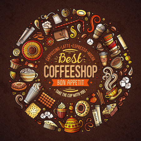 Set of Coffee cartoon doodle objects, symbols and items