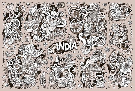 インディアンのデザインのベクトル落書き漫画セット 写真素材