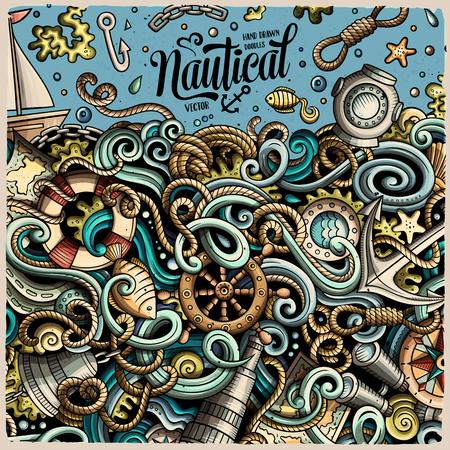 Cartoon vector nautical doodle frame Reklamní fotografie - 80117727