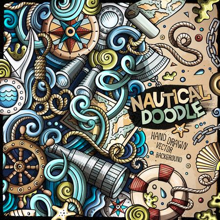 Cartoon vector nautical doodle frame