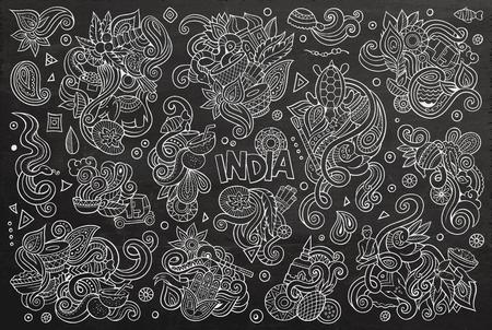 インディアンのデザインのベクトル落書き漫画セット  イラスト・ベクター素材