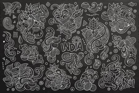 auto rickshaw: Vector doodle cartoon set of Indian designs