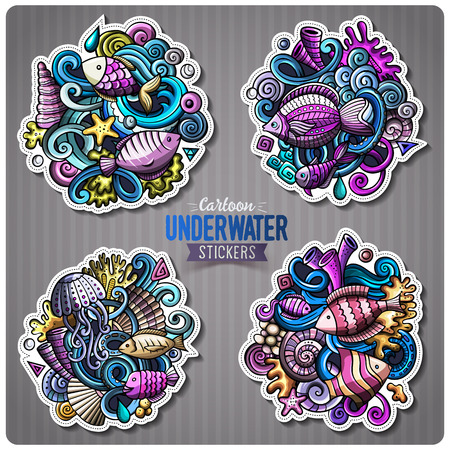 Set of underwater life cartoon stickers Stock Photo - 80117742