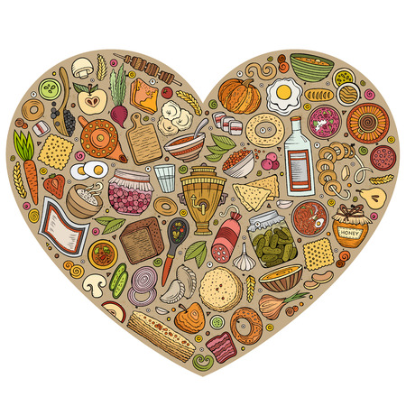 Vector Reihe von Happy Food Cartoon Doodle Objekte Standard-Bild - 80117753