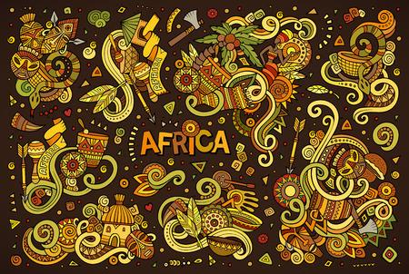 アフリカのデザインのベクトル落書き漫画セット  イラスト・ベクター素材